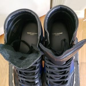 Yves Saint Laurent Shoes - YSL Black/Blue Leather High-Top Sneaker (Size 48)